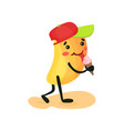 cute funny mango eating ice cream tropical vector image