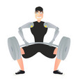 dark-haired man with hand prostheses lifts the bar vector image