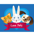 dog cat and rabbit label issolated over blue backg vector image vector image