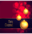 elegant merry christmas hanging golden ball vector image vector image