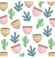 exotics cactus plants and ceramic pots pattern vector image vector image