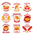fast food logotype set vector image