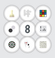 flat icon play set of pawn guess gomoku and vector image vector image