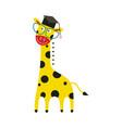 giraffe cartoon character in big eyeglasses and vector image