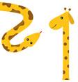 giraffe with spot long neck yellow python snake vector image vector image