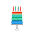 greeting card with hand drawn cake happy birthday vector image vector image