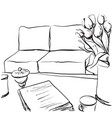 hand drawn room interior sketch chair table vector image vector image