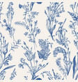 herbal seamless pattern blue vector image vector image
