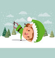 little christmas elf character in snowscape vector image