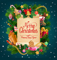 merry christmas gifts new year holiday wish scroll vector image