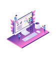 modern web isometric data analysis vector image vector image