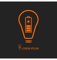Orange bulb with solar battery on black vector image vector image