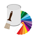 Paintbrush paint can and color guide vector image vector image