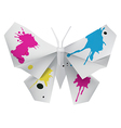 Paper butterfly with ink vector image vector image
