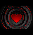 red heart and glowing circles abstract background vector image vector image