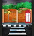 road scene with heavy rain vector image