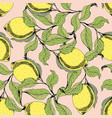 seamless pattern with branches and lemons hand vector image vector image