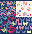 set butterflies floral seamless pattern vector image vector image