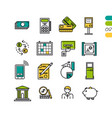 set linear finacial colored icons vector image vector image