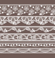 set of six lace ribbons horizontal seamless vector image vector image