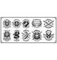 set samurai emblems for white background vector image