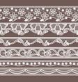 set six lace ribbons horizontal seamless vector image vector image
