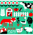 set with farm objects and animals vector image