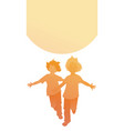 silhouettes two happy boys running with open vector image vector image
