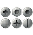 six nailheads with different design vector image