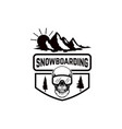 snowboarding emblem with snowboarder design vector image vector image
