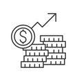 stack of gold coins and arrow rising inflation or vector image