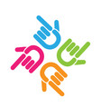 team of pointing hands logo vector image vector image