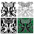 Tribal dragons ornament with celtic knot pattern vector image