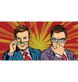 Two men with glasses look simply vector image vector image