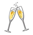 two sparkling glasses champagne vector image vector image