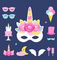 unicorn birthday or slumber party photo props vector image