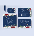 wedding floral invite thank you rsvp card design vector image vector image