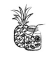 blurred thick silhouette of pineapple fruit and vector image