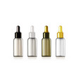 3d realistic cosmetic glass dropper bottle set vector image vector image