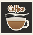 banner with cup of hot coffee and inscription vector image vector image