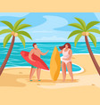 beach summer concept composition vector image vector image