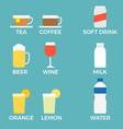 beverage icon with name vector image