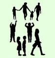 black silhouette children vector image vector image