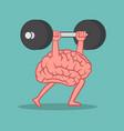 brain lifting weights over head cartoon vector image vector image