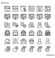browser and interface outline icons perfect pixel vector image vector image