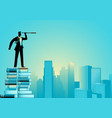 businessman using telescope standing on pile of vector image vector image