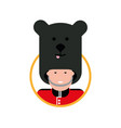 cartoon british soldier in a bear hat vector image