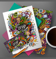 cartoon cute hand drawn doodles designer vector image