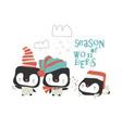 cartoon cute penguins celebrating christmas vector image