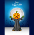 cartoon kid wearing halloween pumpkin costume with vector image vector image